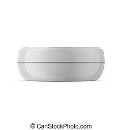 Round white plastic cosmetic jar template.