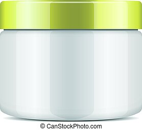 Round white plastic jar with gold cap for cosmetics. Vector mockup template