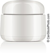 Round white plastic jar with lid for cosmetics. Balm, creme, gel, ointment. Vector mockup template