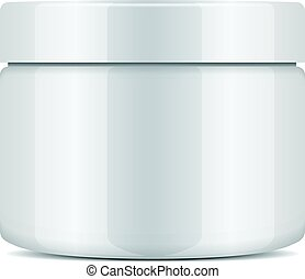 Round white plastic jar with lid for cosmetics. Vector mockup template.
