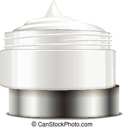Round white plastic jar with silver cap for cosmetics. Open container. Vector mockup template