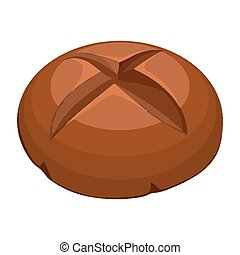 Round whole wheat bread realistic style illustration on white