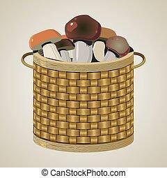Round wicker basket.