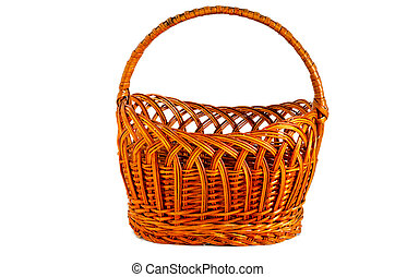 Round wicker basket of brown color with handle on a white background