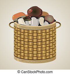 Round wicker basket.