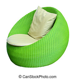 Round wicker chairs on white background