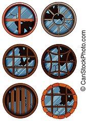 Round windows with broken glass
