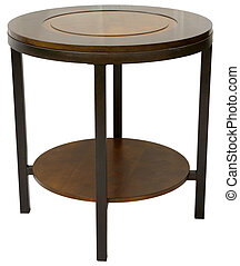 Round Wood and Metal Contemporary End Table