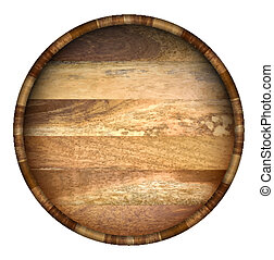 Round wooden barrel. Vector background.