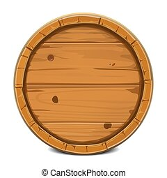 Round wooden barrel.