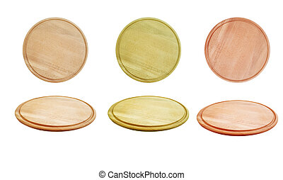 round wooden board isolated on white background