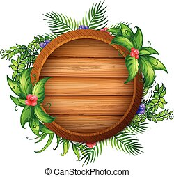 Round wooden board with green leaves and flowers