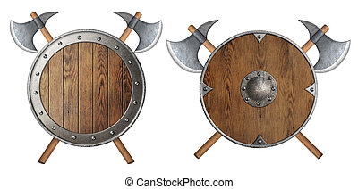 round wooden knight shield and two crossed battle-axes set -...