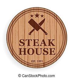 Round wooden plate, cutting board. Steak design elements...