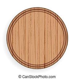 Round wooden plate. Kitchen cutting board vector...