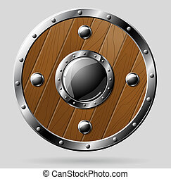 Round wooden shield isolated on white