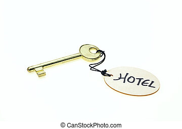 "Round wooden tag with ""Hotel"" text on a key, isolated on white background"