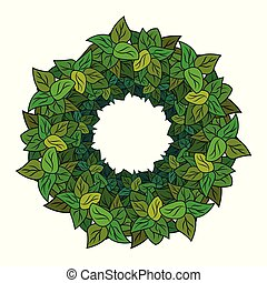 Round wreath of green leaves