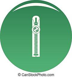 Round zip icon vector green