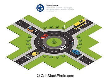 Roundabout, cars, roundabout sign and roundabout road....