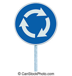 Roundabout crossroad road traffic sign isolated, blue, white