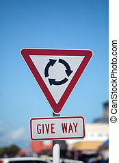 Roundabout Give Way Sign - Round-a-bout roundabout give way...