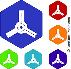 Roundabout icons set hexagon