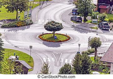 Roundabout in Austrian village, Oetztal, Tirol, Alps