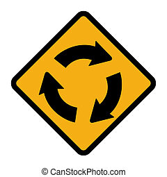Roundabout sign - Diamond shaped roundabout sign, isolated...