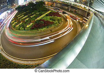 Roundabout traffic in downtown of Hong Kong