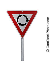 Roundabout Warning Sign - Current Australian Road Sign for left-hand traffic (reflective). Isolated on White