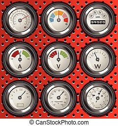rounded analog meters