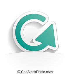 rounded arrow icon paper style full vector