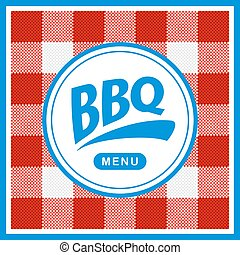 Rounded barbecue label on pattern background