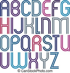 Rounded big jolly parallel cartoon uppercase letters, colorful font with double lines on white background.