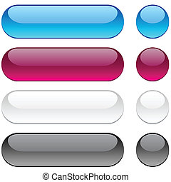 Rounded buttons on white background. - Collection of vector...