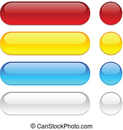 Rounded buttons on white background. - Set of vector buttons...