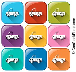 Rounded buttons with cars