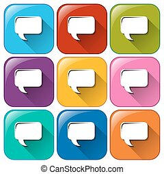 Rounded buttons with rectangular callouts - Illustration of...