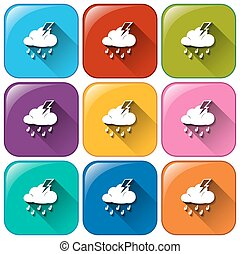 Rounded buttons with the different weather forecasts