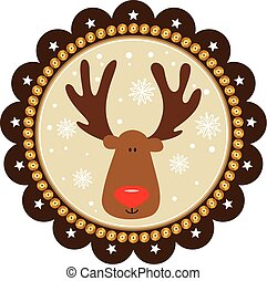 Rounded christmas tags with cute reindeer