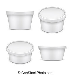 Rounded container. White plastic packaging. Buttermilk and margarine box isolated on white background vector illustration. Plastic packaging and jar mockup for food