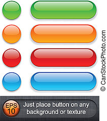 Rounded glossy buttons. - Eps10 vector. Different blending ...