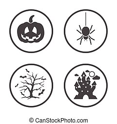 Rounded Halloween icons set. Vector icon design