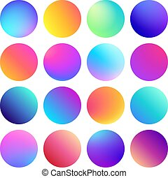 Rounded holographic gradient sphere button. Multicolor fluid circle gradients, colorful round buttons or vivid color spheres vector set