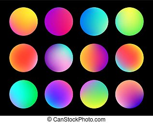 Rounded holographic gradient sphere button. Multicolor fluid circle gradients, colorful soft round buttons or vivid color spheres flat vector set