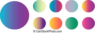 Rounded holographic gradient sphere button. Multicolor green purple yellow orange pink cyan fluid circle gradients, colorful soft round buttons or vivid color spheres flat vector set for your design.