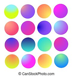 Rounded holographic gradient sphere. Multicolor green purple yellow orange pink cyan fluid circle gradients, colorful soft round buttons or vivid color spheres flat set