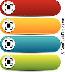Rounded horizontal buttons in several colors with simple target mark or generic squarish symbol Rounded horizontal buttons in several colors with simple target mark or generic squarish symbol