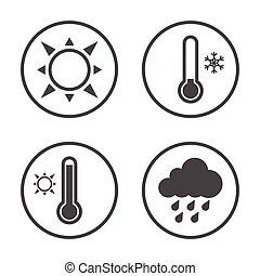 rounded, iconerne, enkel, set., vektor, vejr, årstider, design., ikon
